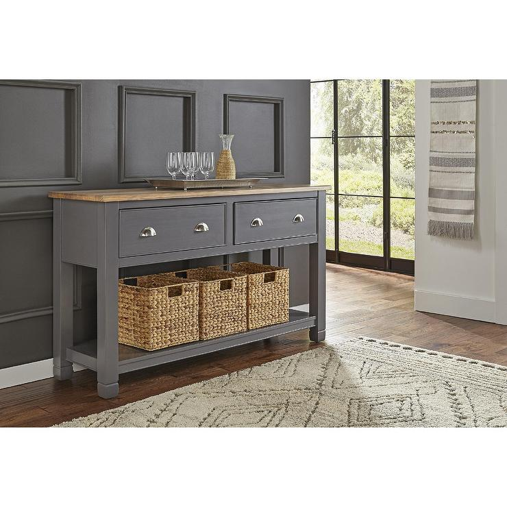 Wooden Gray Washed Sideboard