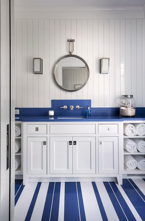 Kids En Suite Bathroom With Nautical Wall Sconce Cottage