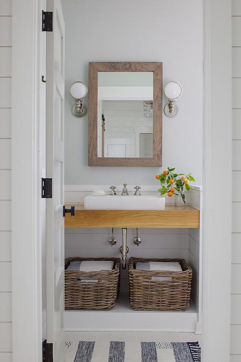 Oak Sink Vanity With Shiplap Walls Cottage Bathroom