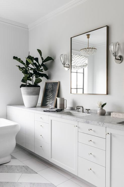 Gray Shaker Makeup Vanity With Greek Key Stool Transitional Bathroom