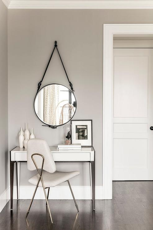 white modern makeup vanity. White Modern Dressing Table with Black Leather Strap Hanging Mirror