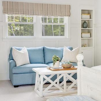 Blue Bedroom Sofa With White Trestle Coffee Table
