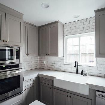 Half Tiled Marble Chevron Backsplash Transitional Kitchen