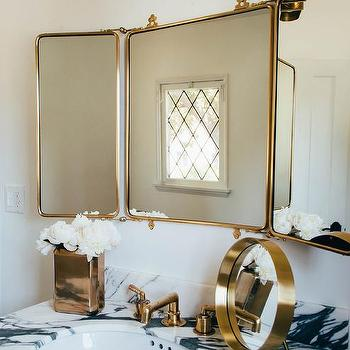 Waterworks Marble Top Washstand With Brass Trifold Mirror