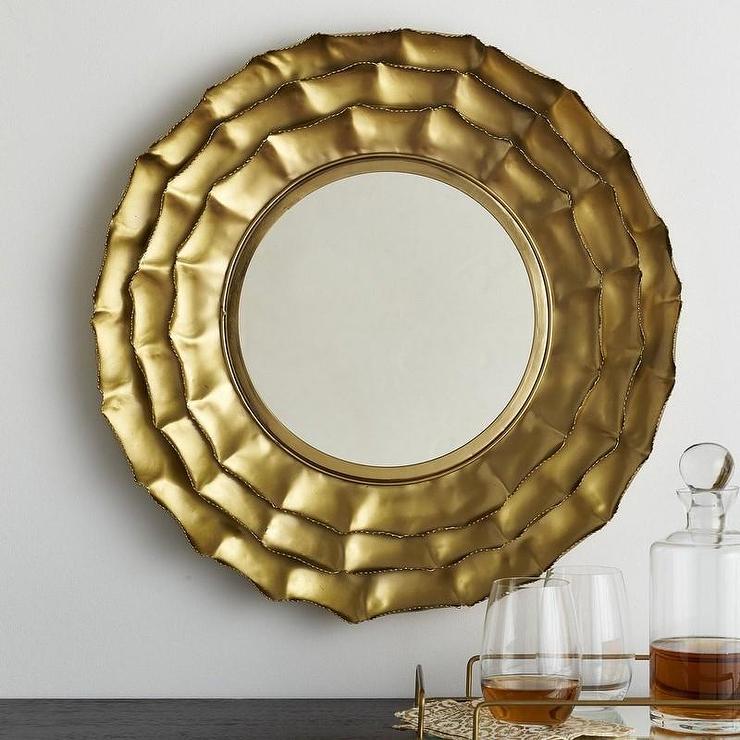 entry mirrors metal layered petals mirror