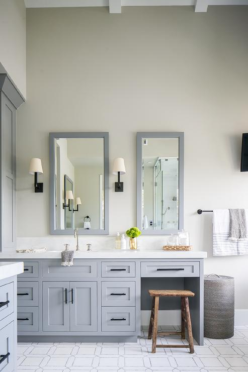 Steel Gray Bath Vanity With Oil Rubbed Bronze Pulls