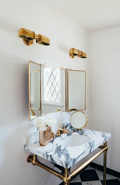 Waterworks Marble Washstand With Brass Legs Transitional