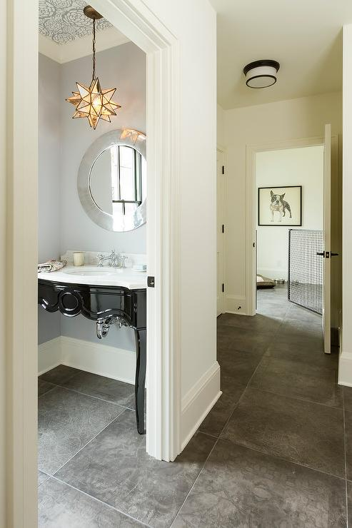 Small Gray Powder Room With Caesarstone Pebble Quartz