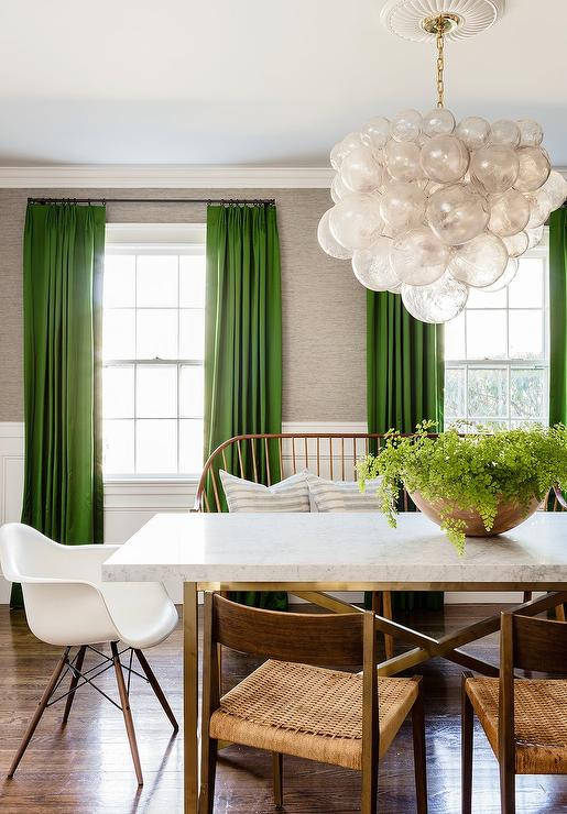 Kelly Green Curtains With Light Gray Grasscloth Walls Transitional Dining Room