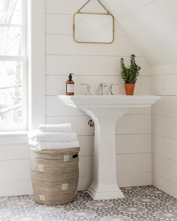 Pedestal Sink On Gray Mosaic Floor Tiles