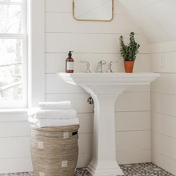 Pedestal Sink On Gray Mosaic Floor Tiles