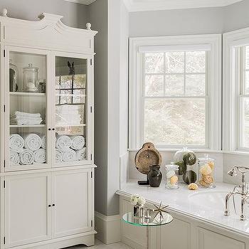 White vanity with black mirror transitional bathroom - Decorative trim for bathroom mirrors ...