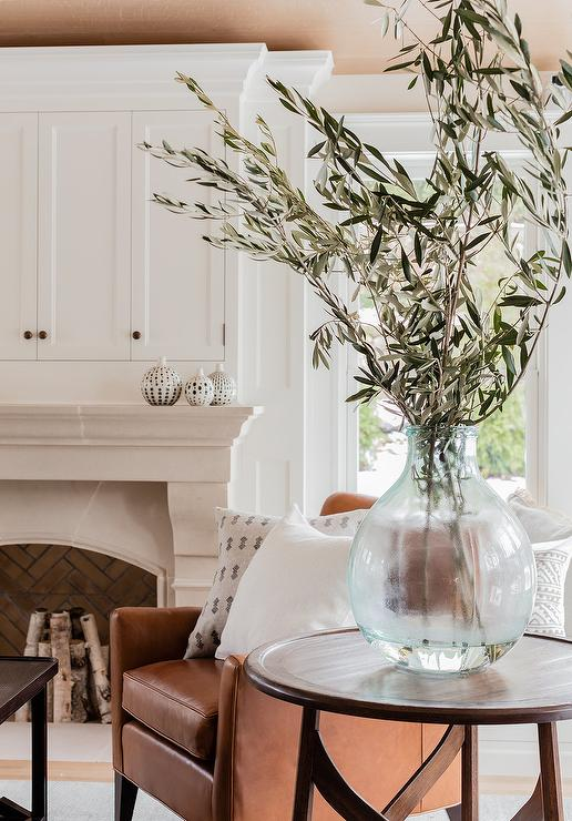 Limestone Fireplace With Curved Bench Cottage Living Room