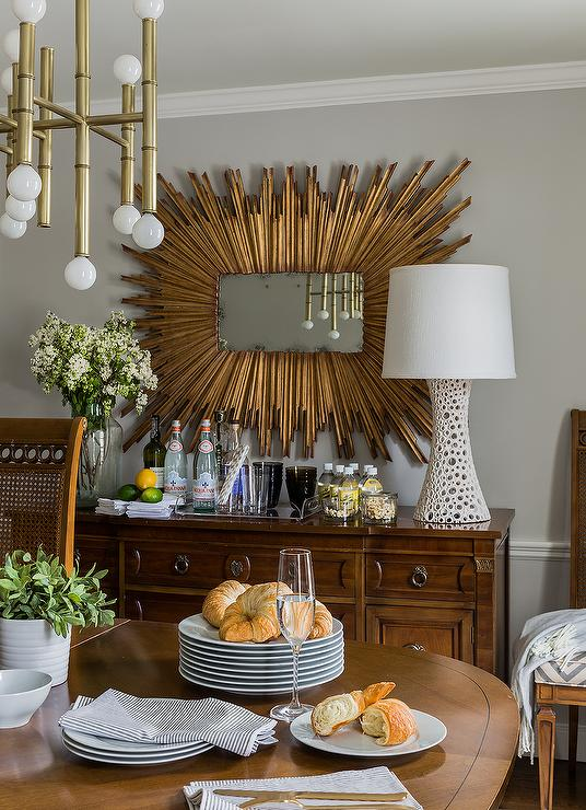 Rectangular Gold Sunburst Mirror Over Antique Buffet Cabinet Transitional Dining Room