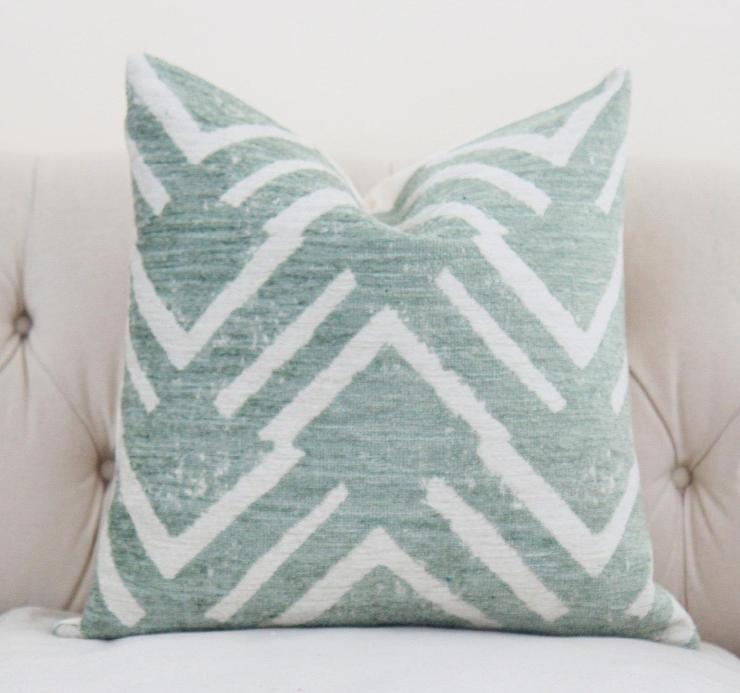 Famous Geometric Sea Green Zig Zag Pillow Cover SJ69