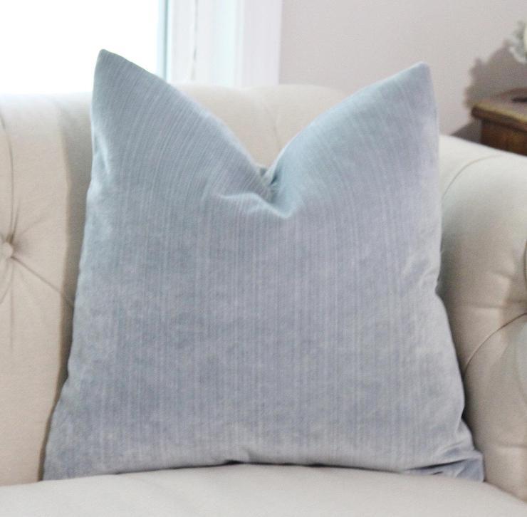 Super Light Blue Polyester Striped Velvet Pillow TU86