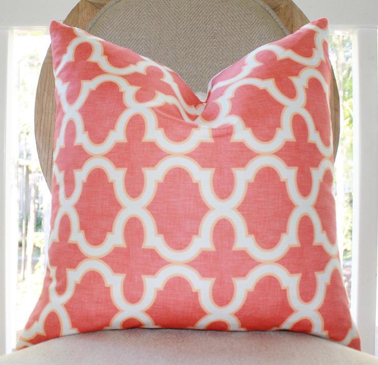 Dwellstudio Madurai Persimmon Coral Pink Outdoor Pillow