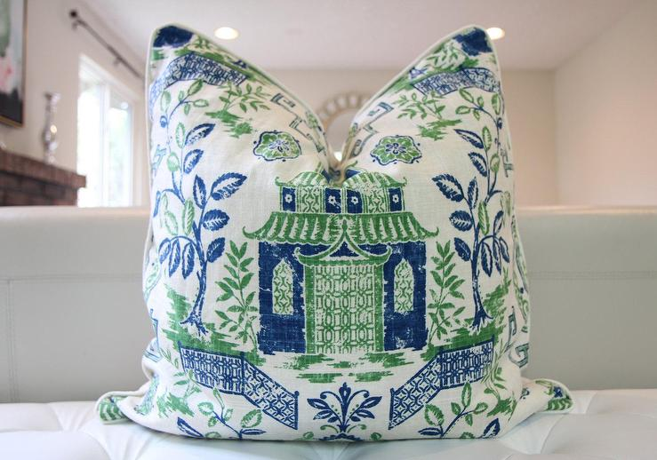 Green Blue Tea House Pagoda Pillow Cover