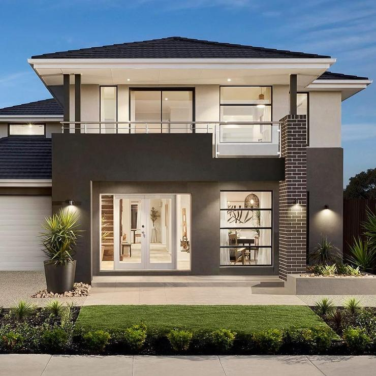 Modern Exterior Of Home With Pathway Transom Window: Modern Dark Gray White 2 Story Glass House