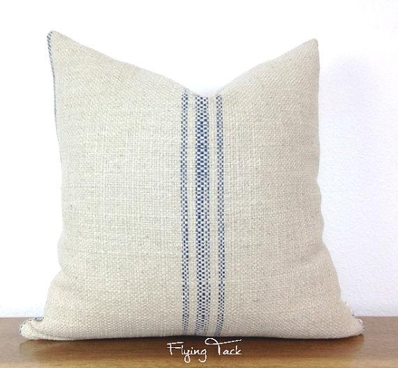 French Laundry Grain Sack Blue Striped Pillow Cover Best Grain Sack Pillow Covers