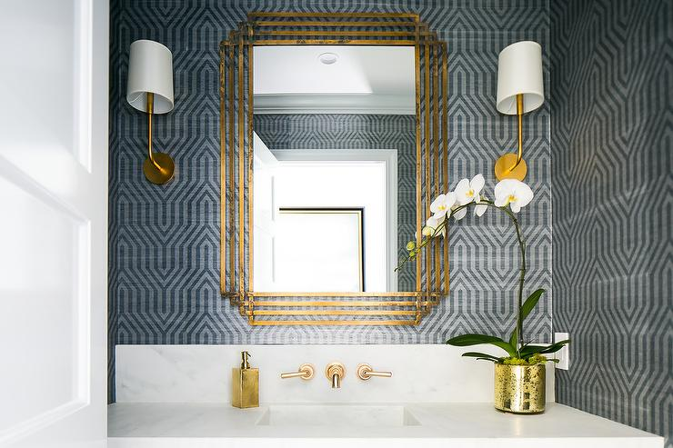 Gold Mirror With Gray And Blue Geometric Wallpaper