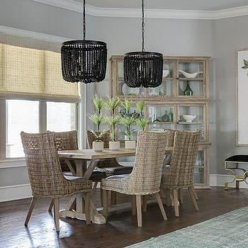 Black Beaded Chandeliers With Trestle Dining Table