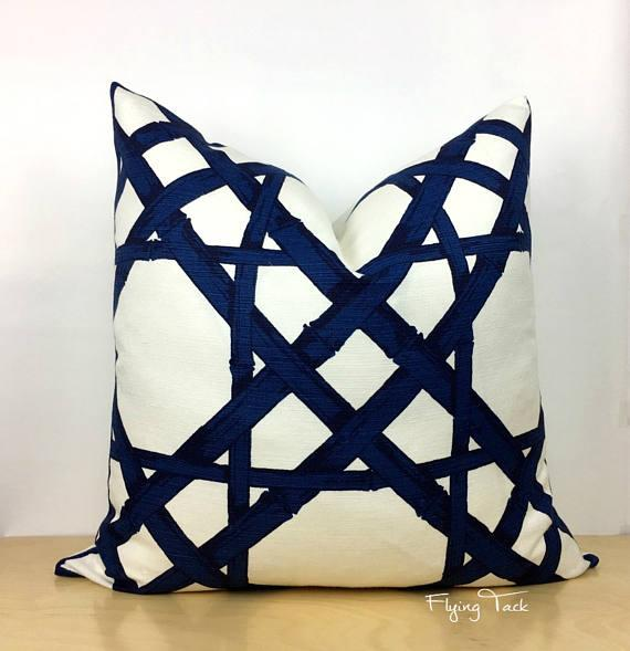 Navy Blue White Cyrus Cane Pillow Cover