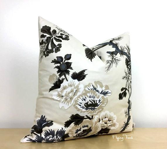 Pyne Hollyhock Black Ivory Floral Pillow Cover