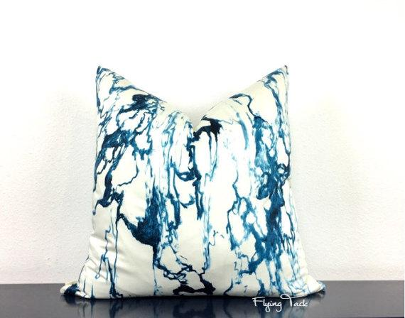 indigo blue white marble pattern pillow cover