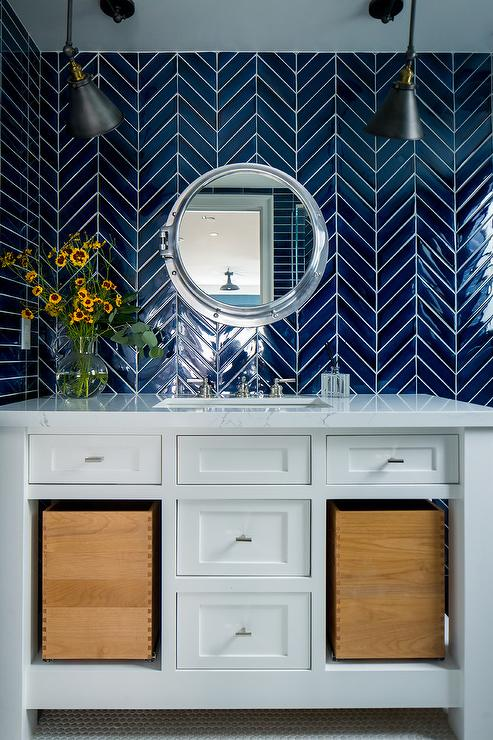 White bathroom tiles with black trim transitional bathroom - Cobalt blue bathroom accessories ...