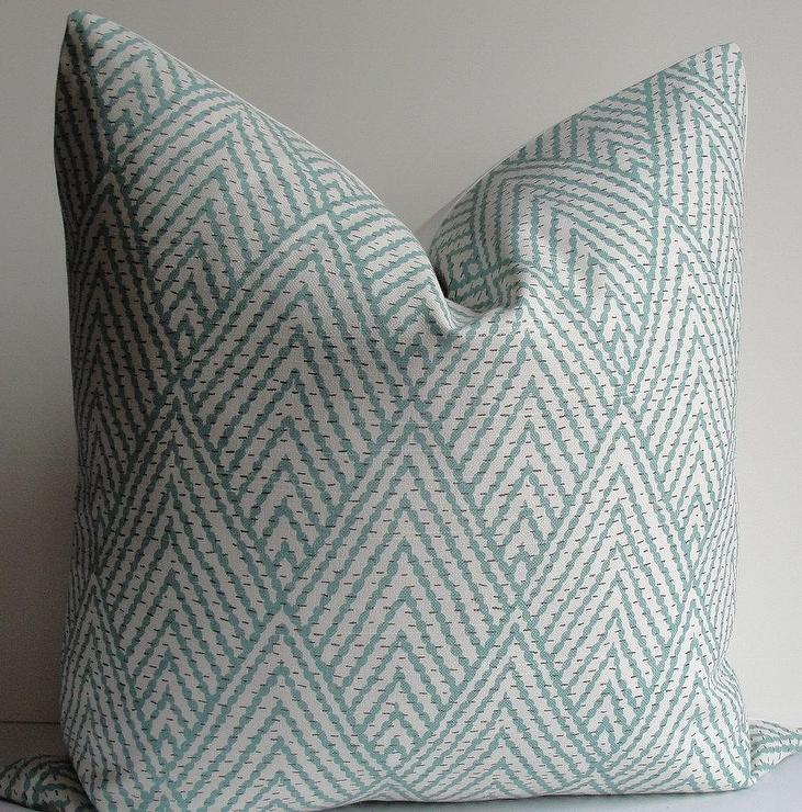 Teal Chevron Stitched Pillow Cover