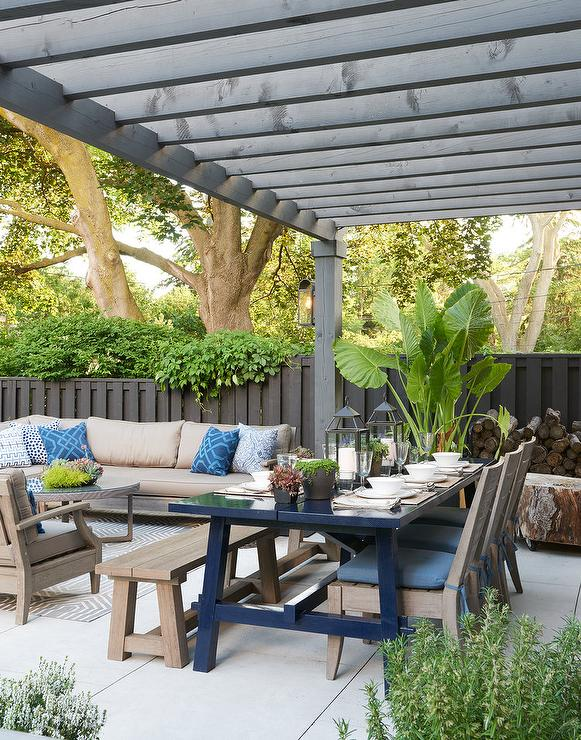 Taupe Teak Outdoor Sofa and Chairs Transitional Deckpatio