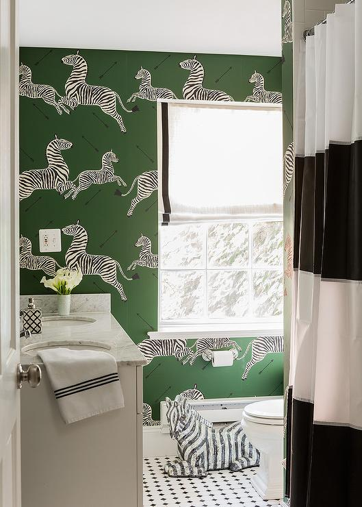 White and black bathroom with vanity in front of windows for Green and black bathroom ideas