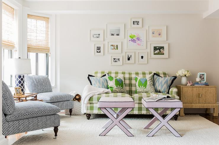 Green Gingham Sofa With Lilac X Stools