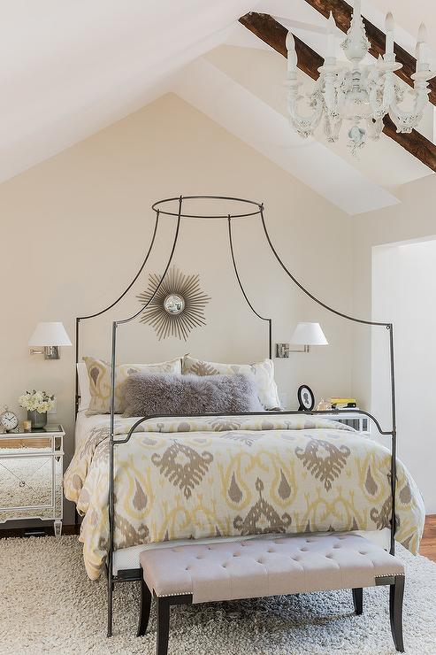 yellow and gray ikat bedding with anthropologie campaign canopy bed - Yellow Canopy Interior