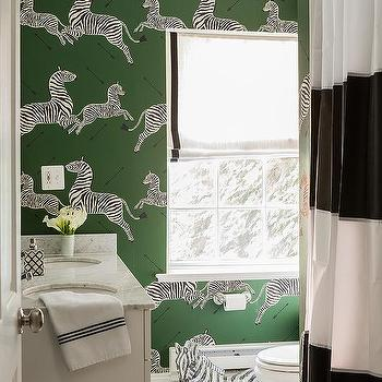 Green And Black Bathroom With Striped Shower Curtain View Full Size Charming Scalamandre Zebra Wallpaper