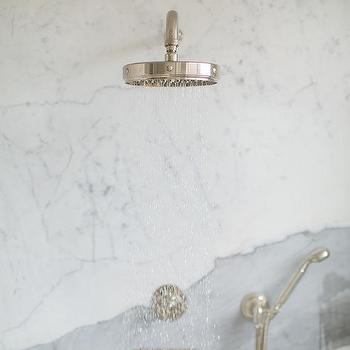 Calcutta Marble Slab Shower Wall With Nickel Shower Head