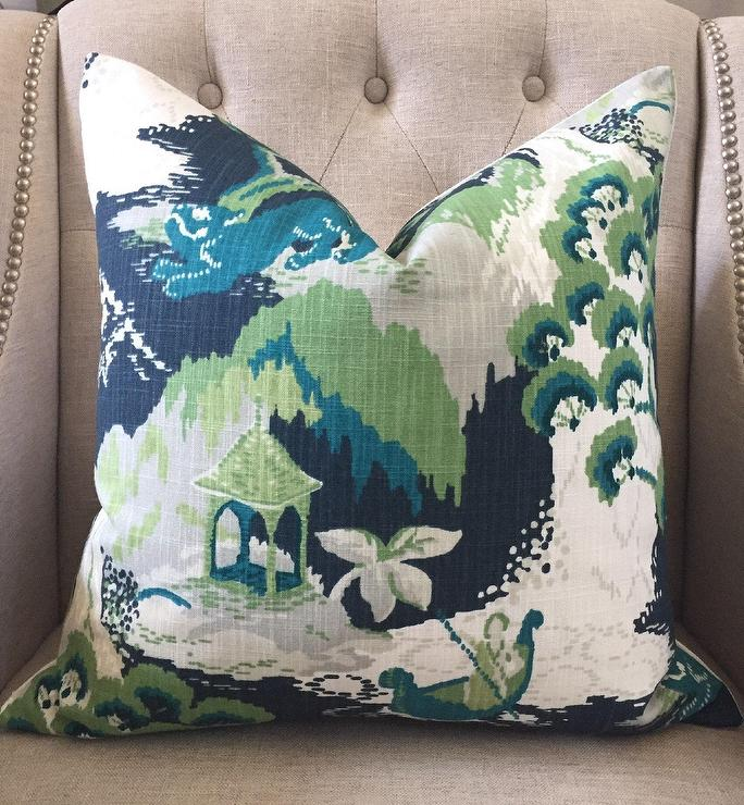 Madcap Cottage Marrakech Green Blue Linen Pillow Cover