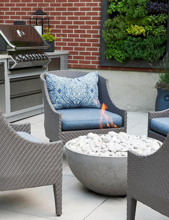 Gray Outdoor Chairs With Blue Pillows Transitional Deck Patio