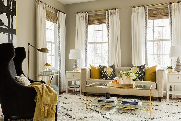 Camel Colored Tufted Sofa With Gold Pillows Part 74
