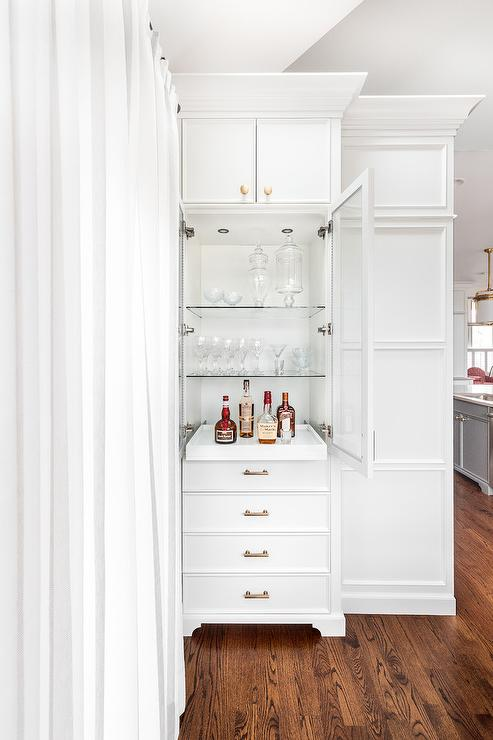 Tall Cabinet With Pull Out Bar Tray Transitional Kitchen