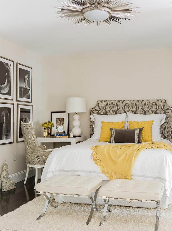 Yellow Accents in White and Gray Bedroom - Transitional - Bedroom