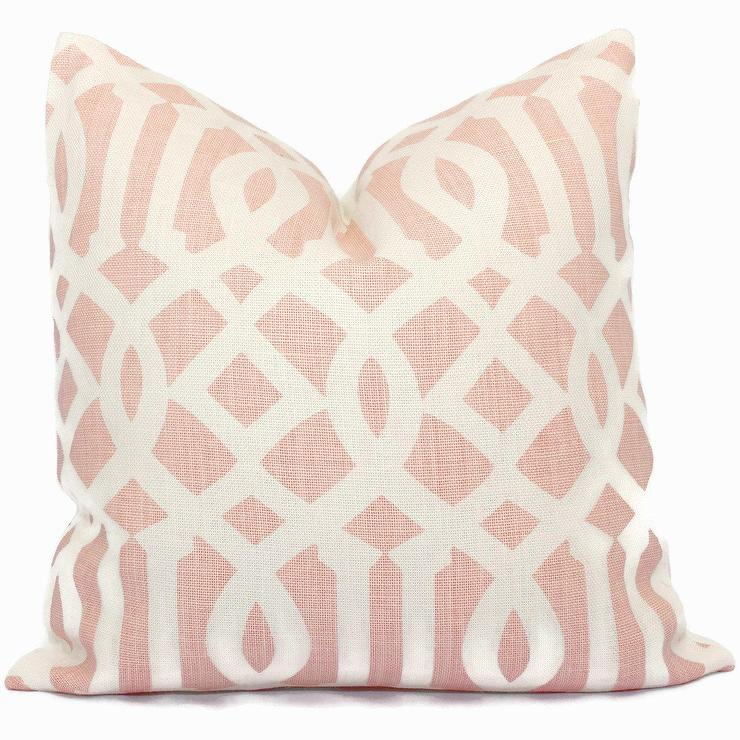Blush Linen Greek Key Trim Pillow Cover