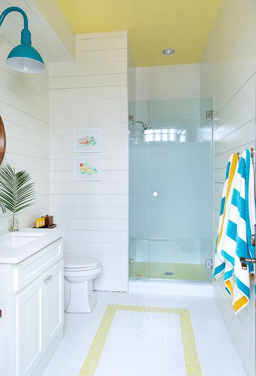 Yellow And Blue Beach Style Kids Bathroom Cottage Bathroom