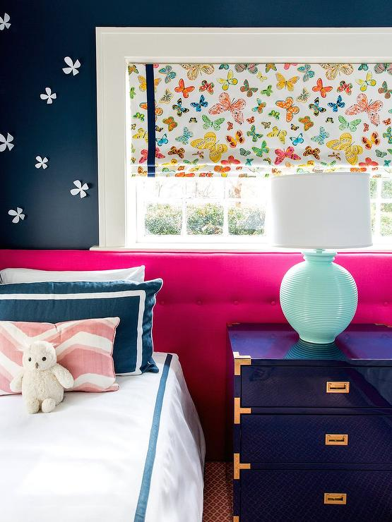Pink and Blue Girls Room with Butterfly Roman Shade - Contemporary ...