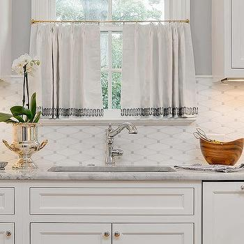 White Kitchen Cafe Curtains With Gray Trim