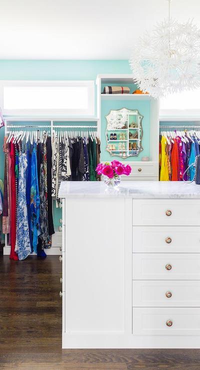 White And Aqua Blue Closet With White Dandelion Flower Chandelier