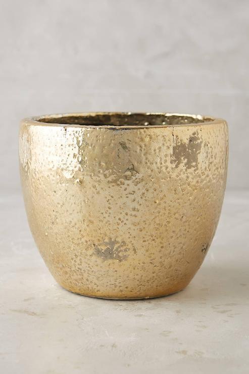 Aureate Gold Textured Terracotta Pot