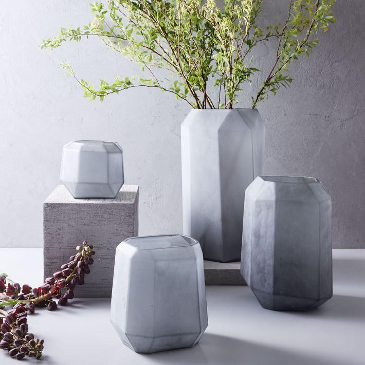 Matte Gem Smoke Frosted Glass Vases