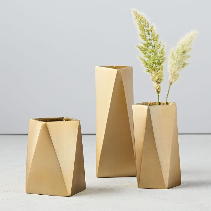 Modern Geometrical Brass Jewelry Vases